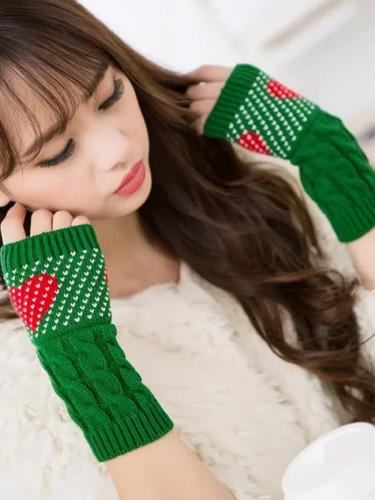 Women Winter Warmers Christmas Cashmere Fingerless Long Gloves  Knitted Heart type Glove