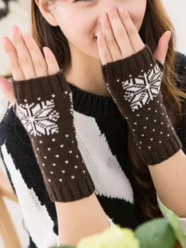 Christmas Elk Crochet Knitted Fingerless Gloves Short Wrist Warm Mittens
