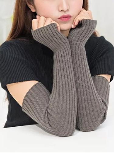 Winter Women Arm Warmers Knitted Woolen Arm Sleeve Fine Long Knitted Fingerless Gloves Casual Warm Soft Female Gloves Hot Sale