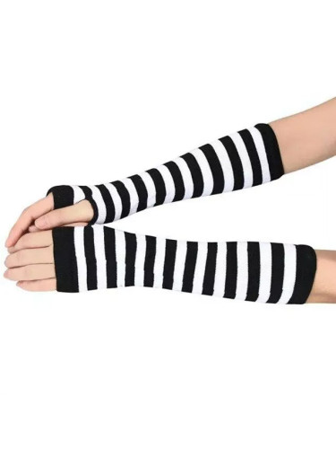 Winter Women Stripted Wrist Arm Hand Warmer Knitted Long Fingerless Gloves