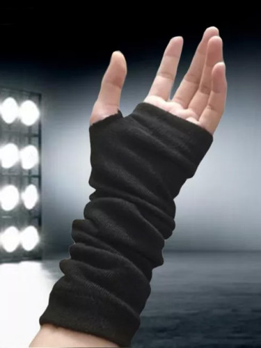 Black Stretch Glove Fingerless Cuff Ninja Sport Elbow Length Mitten