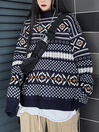 Sweater autumn and winter new Harajuku style four-color jacquard long-sleeved knitted top