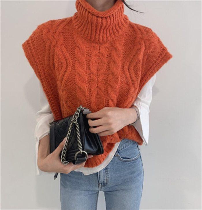 Autumn Winter Turtleneck Sleeveless Sweater Vest Women Fashion Casual Loose Knitwear Tops