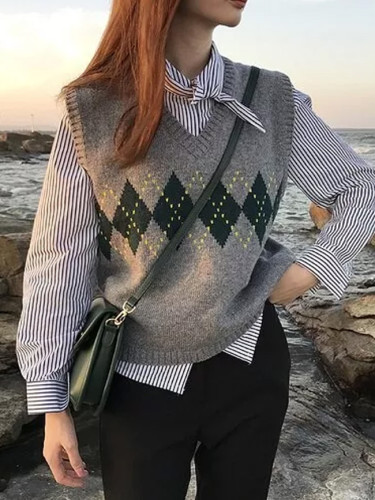 Women Sweater Vest Autumn Vintage Geometric Argyle V Neck Knitted Jumper Tank Tops