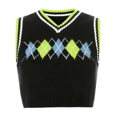 Y2K Sweaters Plaid Patched Knitwear Sleeveless V Neck Knitted Tank Top