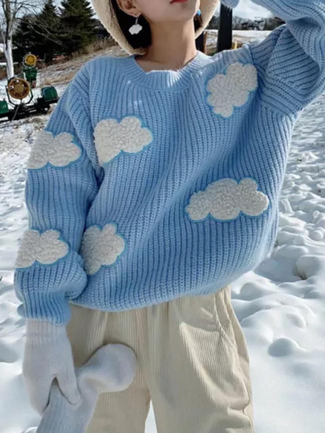 Women's Cozy Clouds Sweater Long Sleeve Crew Neck Winter Knit Tops