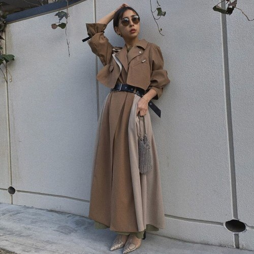 Autumn Khaki Long Trench Coat Women Casual Outwear Jacket