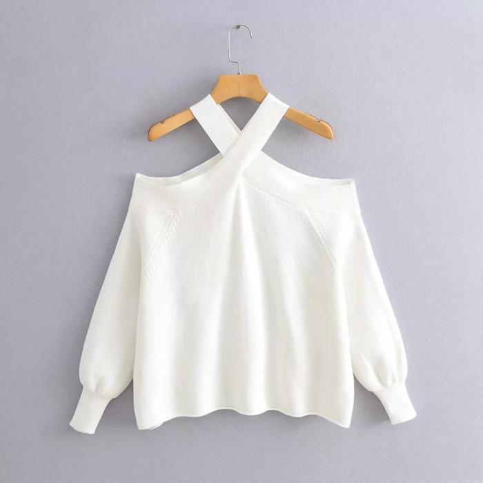 Oversize women cross halter sweaters ladies elegant knitted pullovers