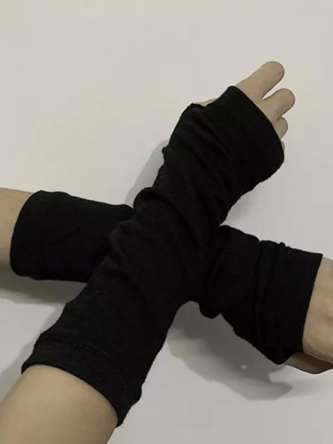 Fingerless Gloves Cuff Women Sport Outdoor Elbow Length Mittens Arm