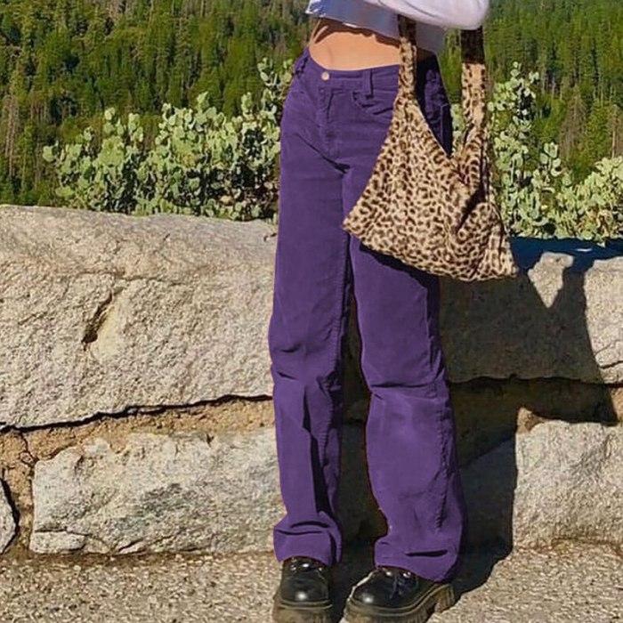Brown Corduroy Women Harajuku Cargo Pants Y2K Trousers Autumn Winter High Waist Pants