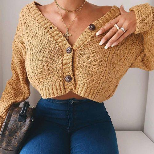 Women Cropped Cardigan SweaterGirls Long Sleeve Twist Crochet Top
