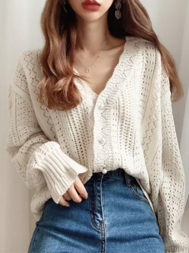 Women Sweater Cardigans V-Neck Knit Tops Long Sleeve Hollow Out Tops
