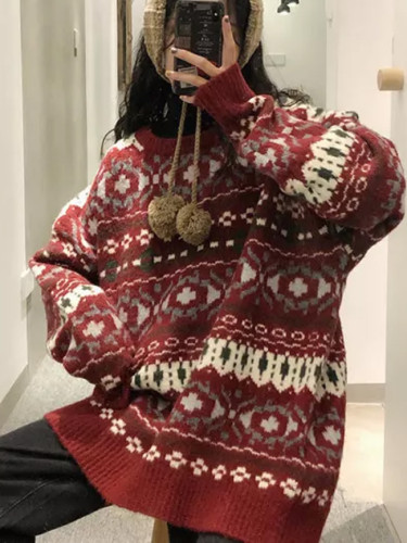 Autumn and winter clothing new cherries red jacquard christmas sweater women loose outer wear