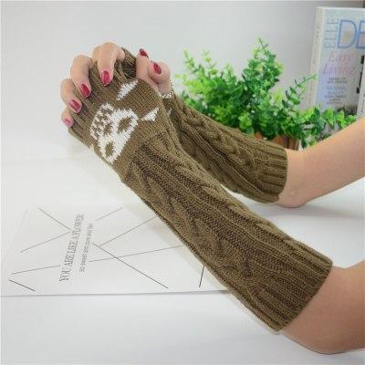 Harajuku Black Skull Women Half Finger Knitting Warm Long Glove