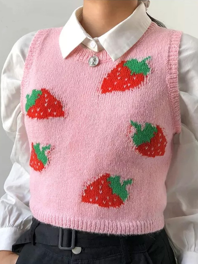 Strawberry Sweaters Y2K Crop Top Sleeveless O Neck Tank Top