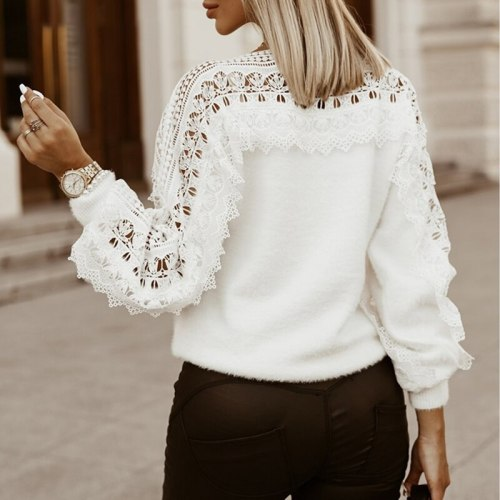New Fashion Women Solid Guipure Lace Lantern Hollow Out Autumn Winter Long Sleeve Sweater For Lady