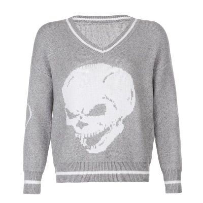 Y2K Sweaters Skulls Pullovers V Neck Knitwear Loose Casual Knitted Tops