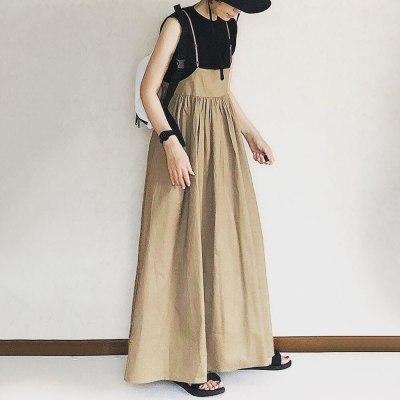 Khaki Dress Casual Lady Pleated Maxi Strap Dress