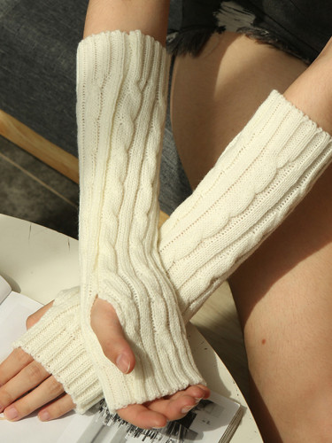 Winter Long Wool Half Finger Gloves Knit Warm New