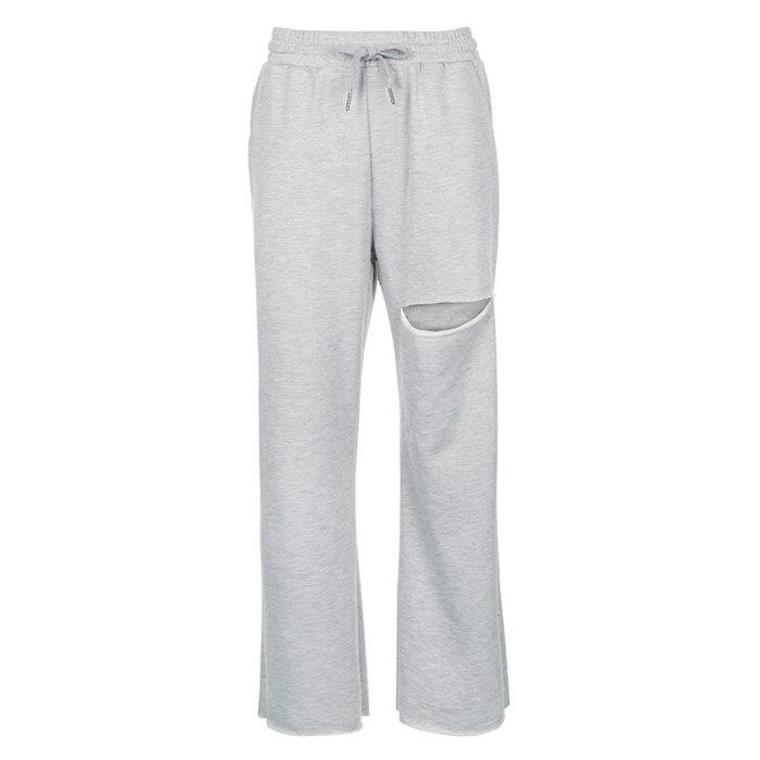 Baggy Wide Leg Pants Women Casual Hole High Waisted Sweatpants