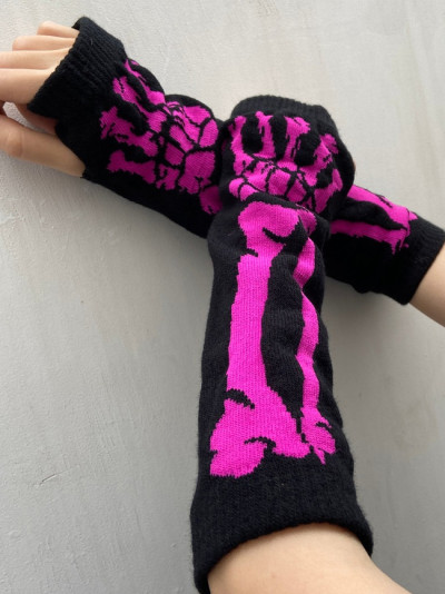 Black Skull Half Finger Long Glove Women Knit Length Harajuku Punk Style