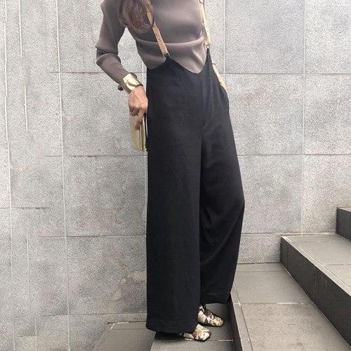 Harajuku Wide Leg Pants Female Spring Black Straps Pants High Waist Suspenders Trousers