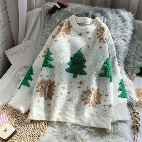 Red Christmas Snowflake Winter New Thicken Casual Soft Loose Round Neck Long Sleeves Knitted Top
