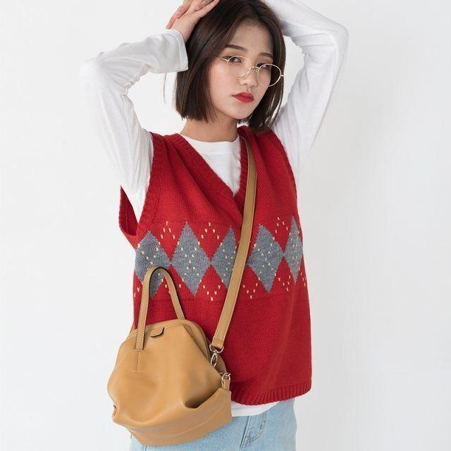 Women Sweater Vest Autumn Vintage Geometric Argyle V Neck Knitted Jumper Tank Tops