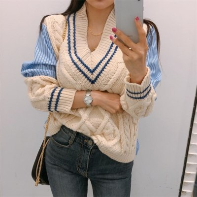 Autumn Winter Women's Sweaters Patchwork Srtiped V-Neck pullover