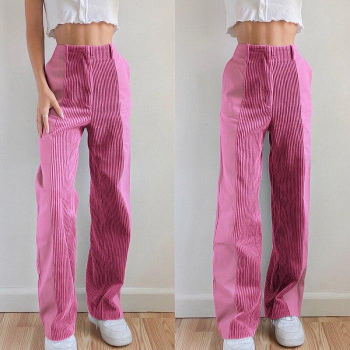 Corduroy Pants Women Y2K Trousers Party Cargo Pants Autumn Winter High Waist Pants