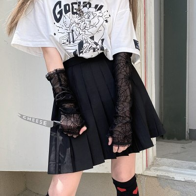 Harajuku Punk Black Spider Web Gloves Length Sleeve Lace Mesh Mittens