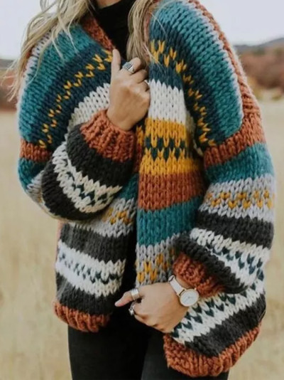 Vintage Style Multi-color Stitching Sweater Casual Striped Long-sleeved Cardigan