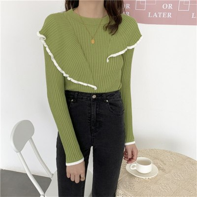 Basic Bottoming Knit Sweater Flounced Stitching Pullover Slim Warm Thick Knitted Tops