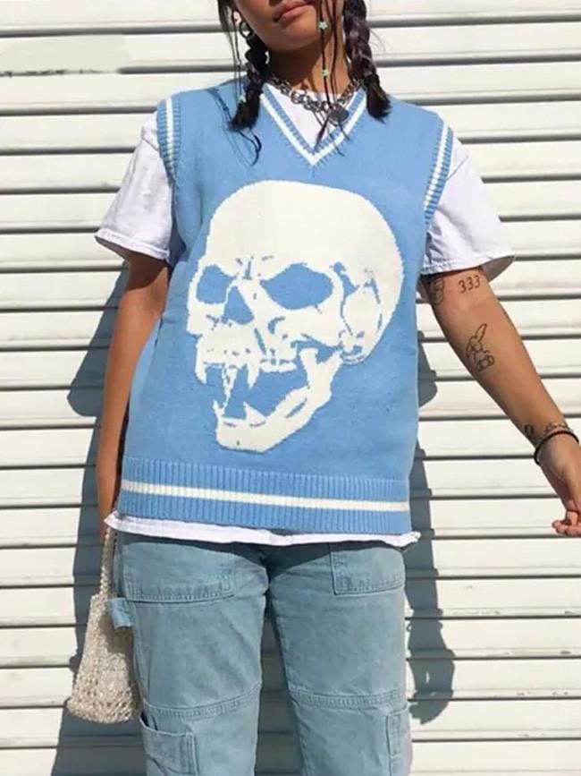Y2K Sweaters Skulls Pullovers V Neck Blue Knitwear Loose Casual Tank Top Women