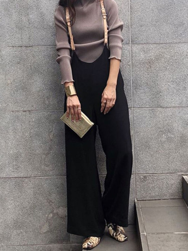 Harajuku Wide Leg Pants Female Spring Black Straps Pants High Waist Suspenders Trousers