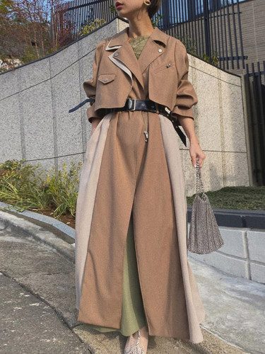 Autumn Khaki Long Trench Coat Women Casual Outwear Jacket