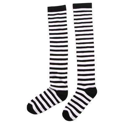 Black White Striped Long Stocking Women Warm Cotton Over The Knee Socks  Autumn Winter New 1 Pair