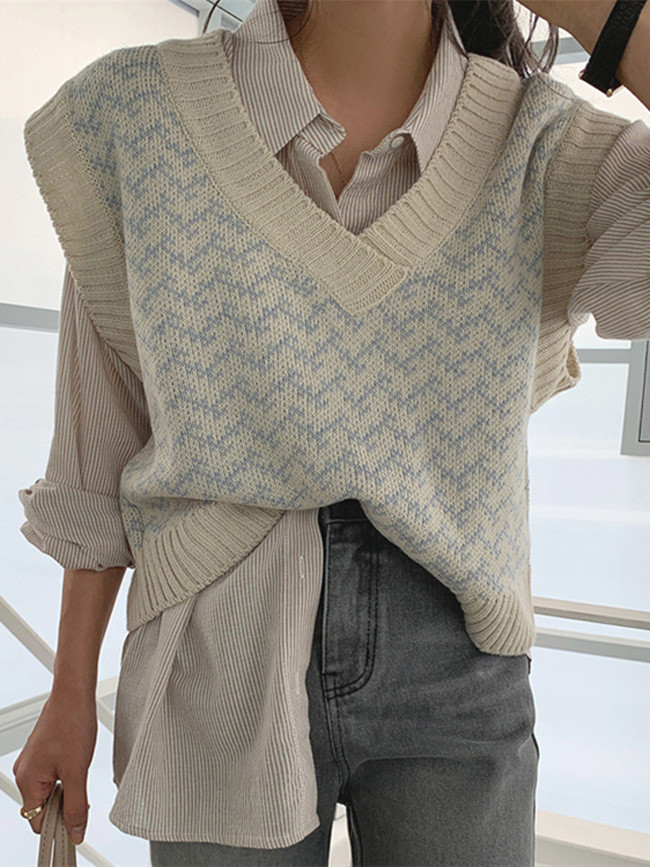 Autumn Winter Women Sweaters Pullover V-Neck Sleeveless Vest Knitwear