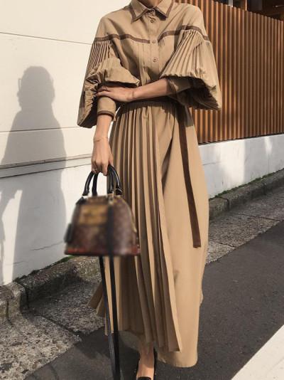 Pleated Patchwork Maxi Shirt Dress Autumn Casual Elegant