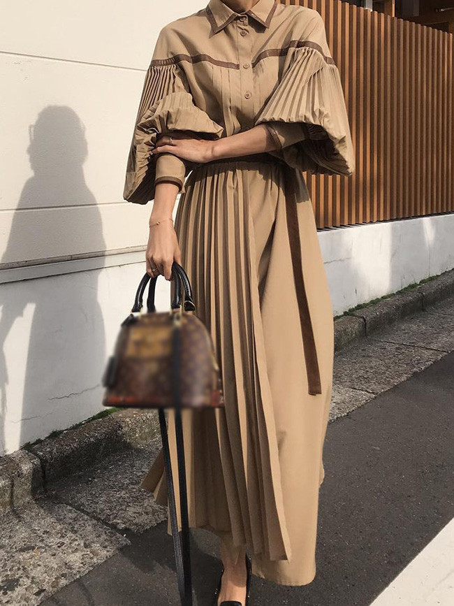 Pleated Patchwork Maxi Shirt Dress Autumn Casual Elegant