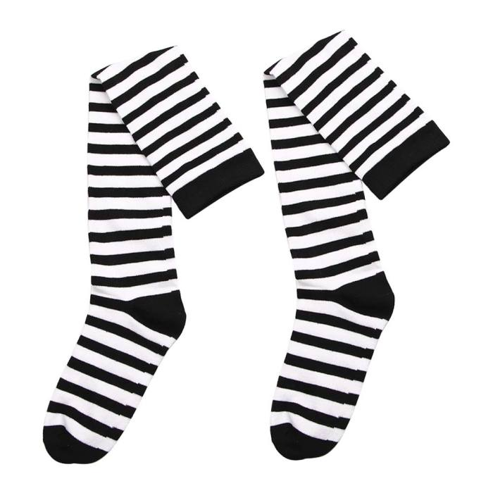 Black White Striped Long Stocking Women Warm Cotton Over The Knee Socks  Autumn Winter New 1 Pair