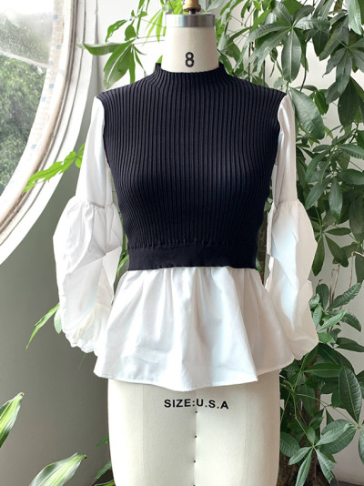 Women Turtleneck Sweater Fashion Knitted Patchwork Long Sleeve Tops