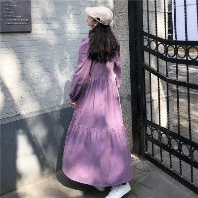 Women Corduroy Loose Purple Pullover Vintage Out Wear Maxi Dresses