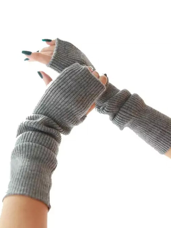 Women Winter Arm Warmers Cashmere Fingerless Long Gloves Solid Warm Mittens Female Knitted Sleeves 40cm