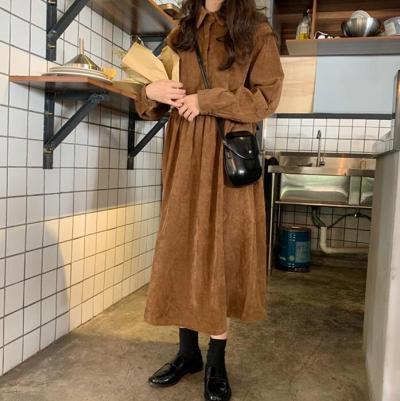 Chic Loose Corduroy Long Sleeve Maxi Dress