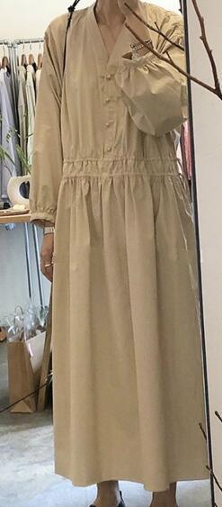 Women Autumn Long Sleeve Oversized Long Shirt Dress Female Drawstring V Neck