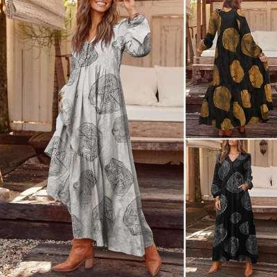 Autumn Long Sleeve Maxi Dress Women'Plaid Dress