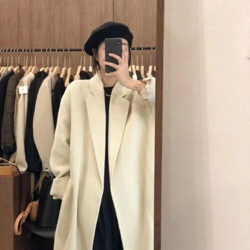 Women Autumn Winter Wool Coat Sashes Slim Cardigan Cloak