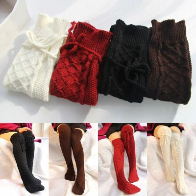 Winter Thick Warm Women Cable Woolen Over Knee Long Boots Stocking