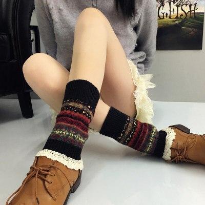 Gaiters Camouflage Woolen Leg Warmers Womens Knee High Socks